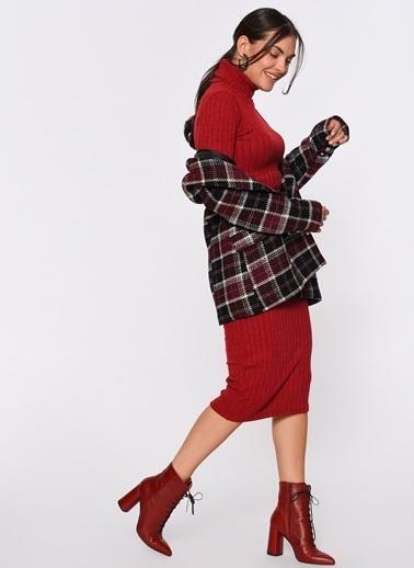 Loves You Kol Ucu Düğme Detaylı Balıkçı Triko Elbise Kırmızı